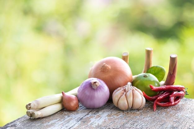Tom yum contient du piment, de l'échalote, de la citronnelle, des feuilles de lime kaffir, du citron, du galanga, de la coriandre, de l'oignon sur fond nature bokeh.