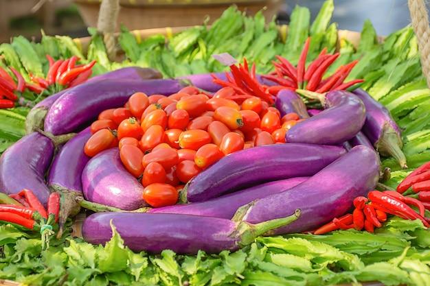 Tomate, aubergine violette, fève ailée et piment rouge la végétation indigène de la thaïlande