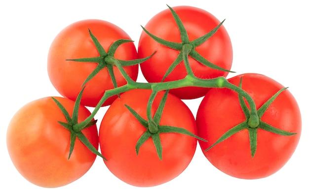 Tomate. branche de tomate. tomates isolées sur blanc. avec chemin de détourage, vue de dessus.