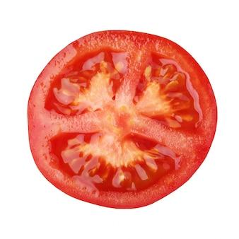 Tomate rouge isolée un demi légume.