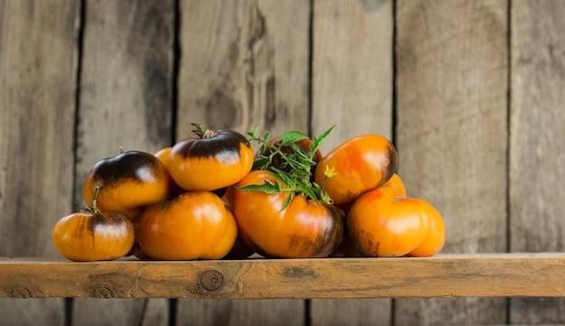 Tomates beauty king avec des feuilles sur la vieille texture vintage rétro