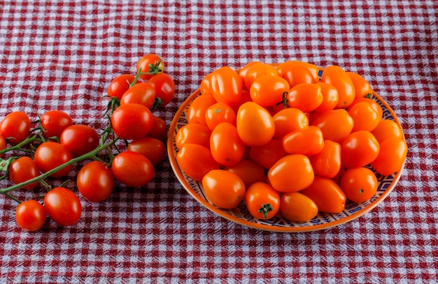 Tomates fraîches dans une assiette sur une toile de pique-nique.