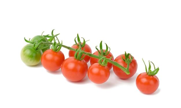 Tomates mûres rouges sur une branche verte sur fond blanc, légume sain, gros plan
