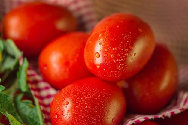 Tomates roma juteuses biologiques fraîches. de délicieuses tomates roma mûres fraîches sur fond de bois
