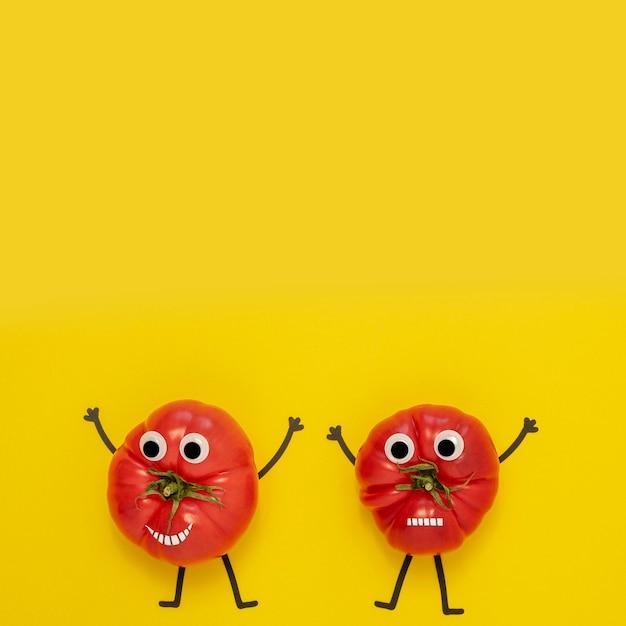 Tomates vue de dessus avec espace copie