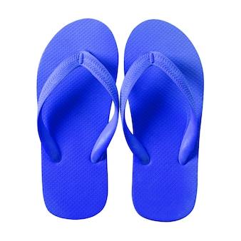 Tongs bleu isolé sur fond blanc