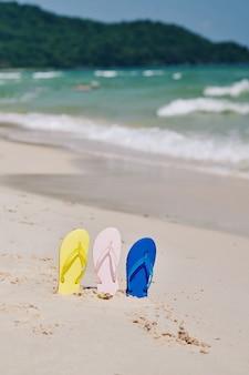 Tongs sur plage déserte