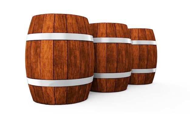 Tonneau en bois avec des cerceaux de fer isolé sur fond blanc rendu 3d