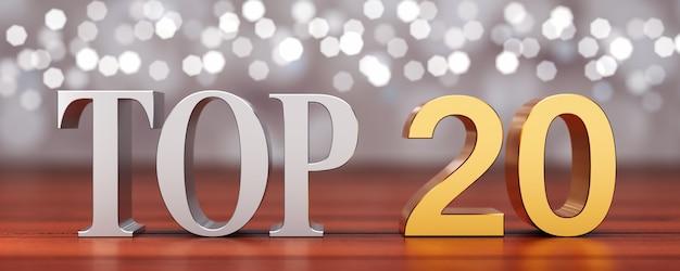 Top 20 sur des planches de bois