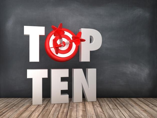 Top dix mot 3d avec cible sur fond de tableau