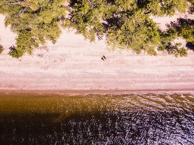 Top down, deux hommes, froid, vue aérienne, plage tropicale estivale