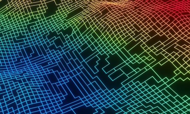 Topographie de grille abstraite rendue en 3d. terrain en maillage dégradé.