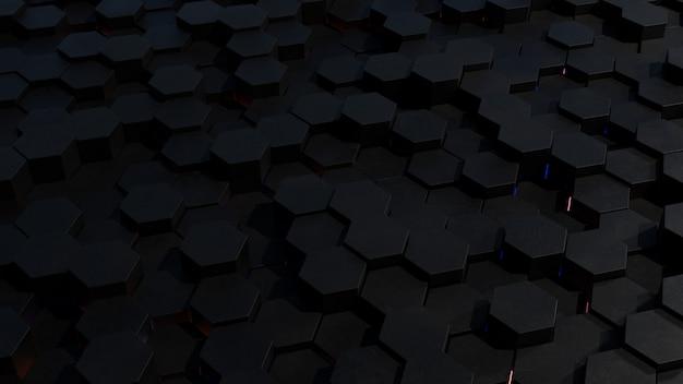 Topologie abstraite de grille hexagonale sombre avec lumière de jante