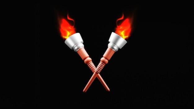 Torche enflammée de rendu 3d croisée sur fond noir.