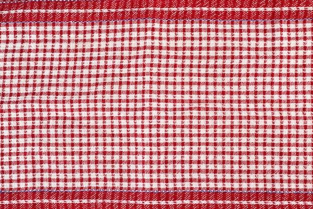 Torchon de cuisine en coton rouge-blanc, cadre intégral