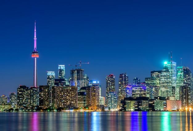 Toronto city skyline at night, ontario, canada
