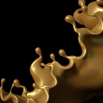 Une touche de caramel doré sur fond noir. illustration 3d, rendu 3d.