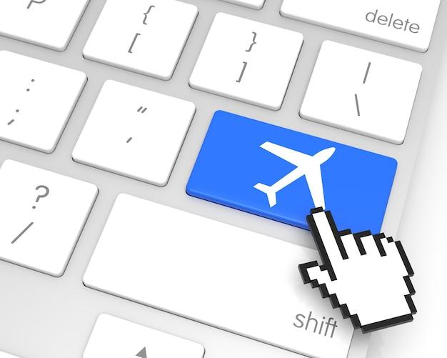 Touche d'entrée d'avion avec curseur main. rendu 3d
