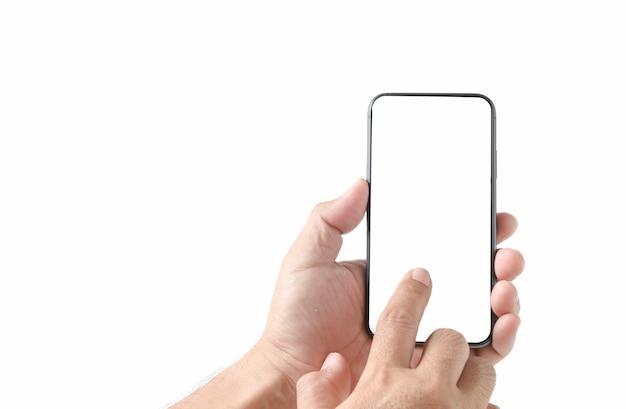Toucher du doigt sur un smartphone à écran blanc isolé sur fond blanc,