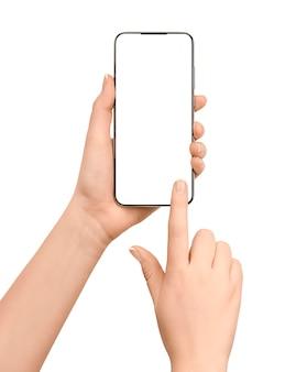 Toucher l'écran du smartphone avec espace de copie