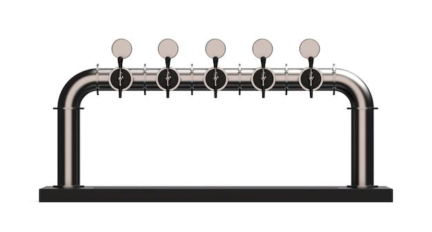 Tour à bière à cinq robinets avec poignée et distributeur 3d illustration render of pump isolated on white