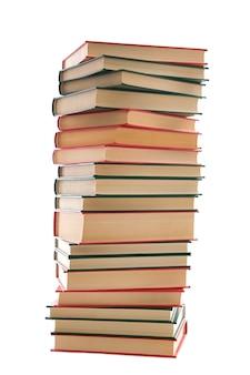 Tour de livres sur fond blanc