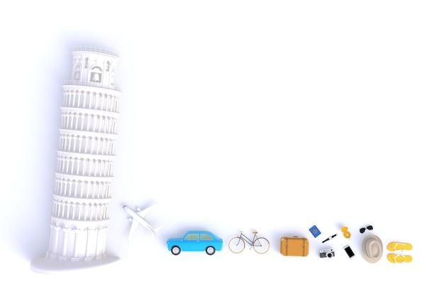 Tour penchée de pise, vue de dessus des accessoires du voyageur