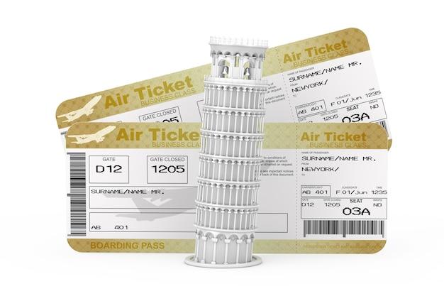 Tour de pise penchée blanche devant deux golden business ou first class airline boarding pass fly air tickets sur fond blanc. rendu 3d