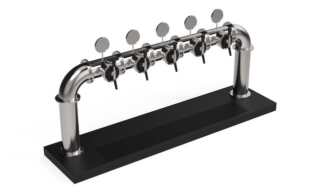 Tour de pompe à bière avec rendu de cinq robinets avec poignée et distributeur 3d illustration isolated on white