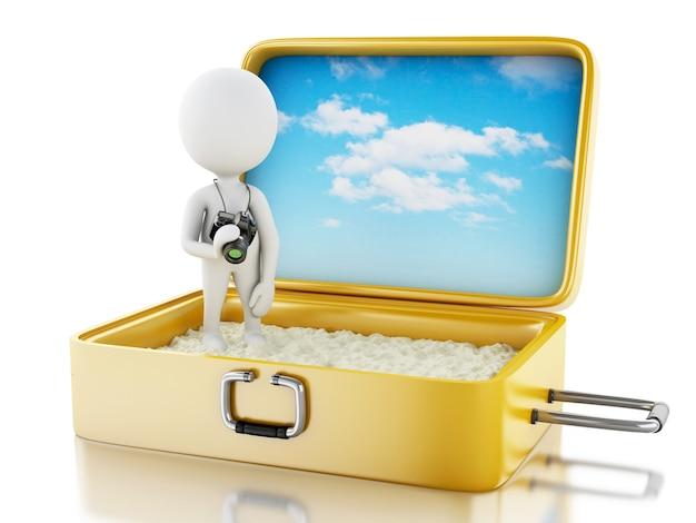 Touriste 3d blanc avec caméra dans une valise de voyage.