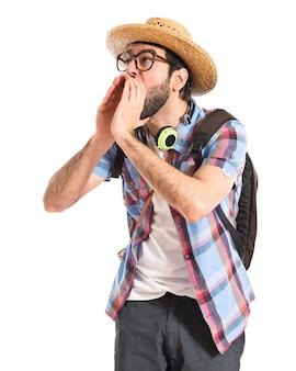 Touriste, crier, blanc
