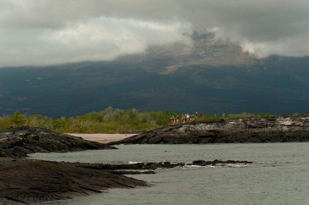 Touristes, sur, a, île, punta espinoza, île fernandina, îles galapagos, équateur
