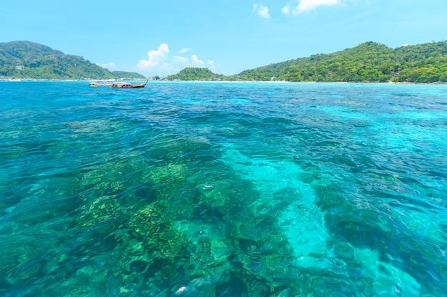 Touristes nageant et faisant de la plongée en apnée dans la mer d'andaman aux îles phi phi, thaïlande
