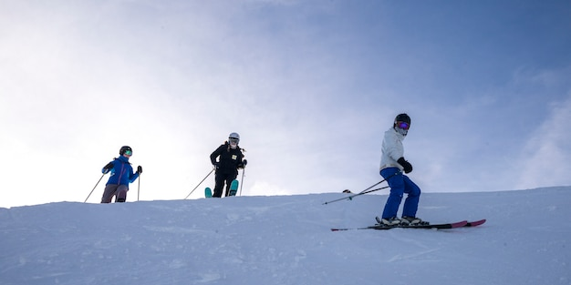 Touristes, ski, kicking, cheval, montagne, recours, doré, colombie britannique, canada