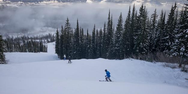 Touristes, ski, vallée, kicking, horse, mountain, resort, doré, colombie britannique, canada