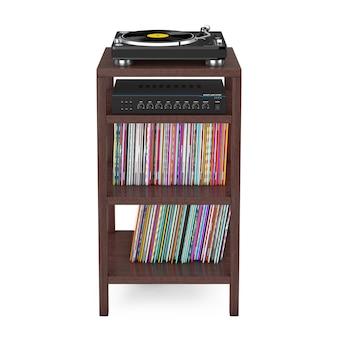 Tourne-disque vinyle, amplificateur mélangeur stéréo hifi et disque de disque vinyle syack avec support de rangement en bois sur fond blanc. rendu 3d