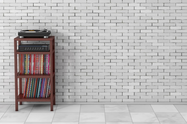 Tourne-disque vinyle, amplificateur mélangeur stéréo hifi et disque de vieux disque vinyle syack avec support de rangement en bois devant le mur de briques. rendu 3d