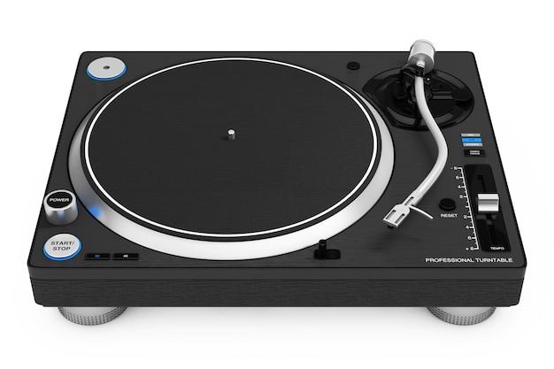 Tourne-disque vinyle professionnel dj sur fond blanc. rendu 3d