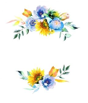 Tournesols aquarelle et illustration de pivoines