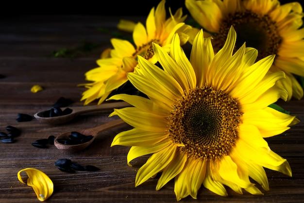 Tournesols jaunes avec des graines