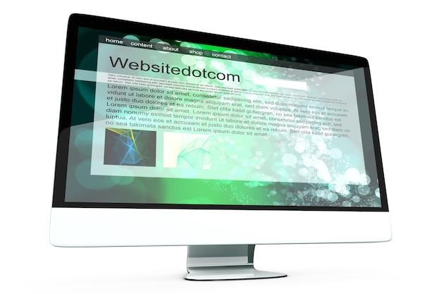 Tout en un ordinateur montrant un site web générique.