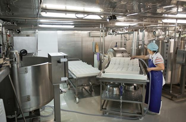 Toute la longueur des outils et de l'équipement de lavage des travailleuses à l'usine de fromages et de produits laitiers, production alimentaire, espace de copie