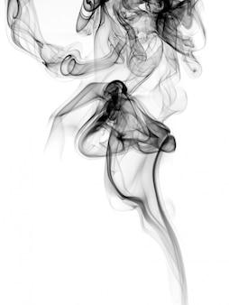 Toxique de fumée noire abstraite sur fond blanc. feu