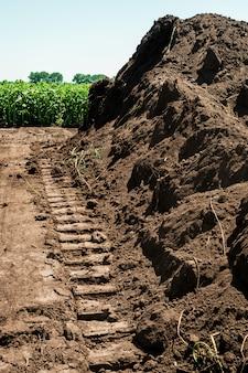 Traces de chenilles bulldozer au sol