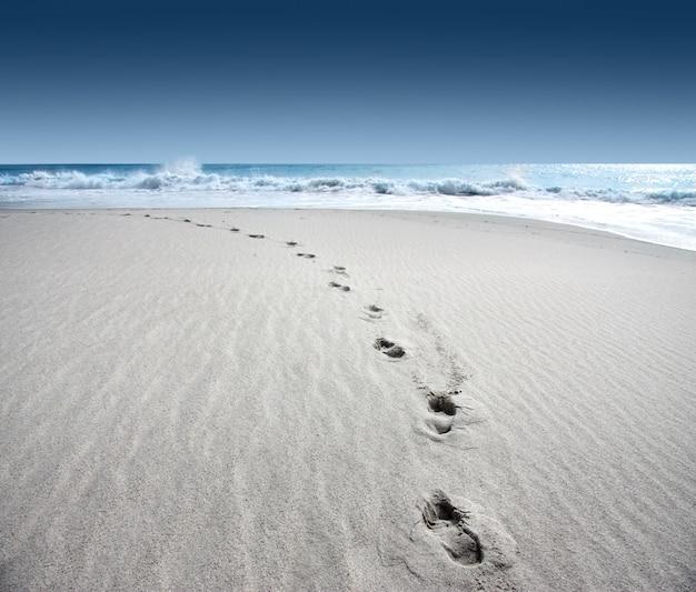Traces sur le fond de la plage