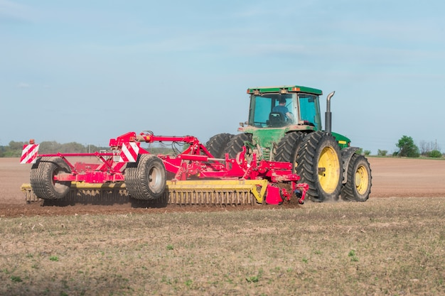 Tracteur, champ, labourer, terre
