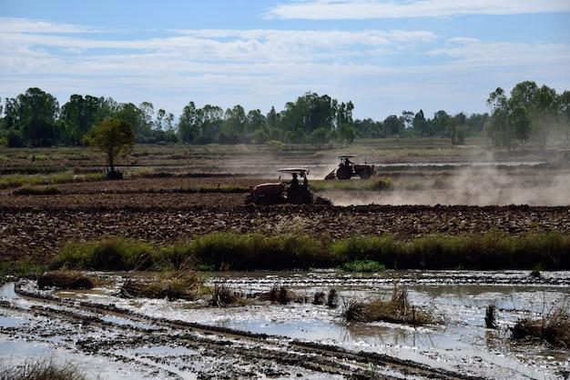 Tracteur est l'agriculture dans le paysage agricole