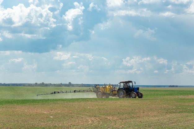 Le tracteur pulvérise des engrais chimiques liquides dans le champ de maïs
