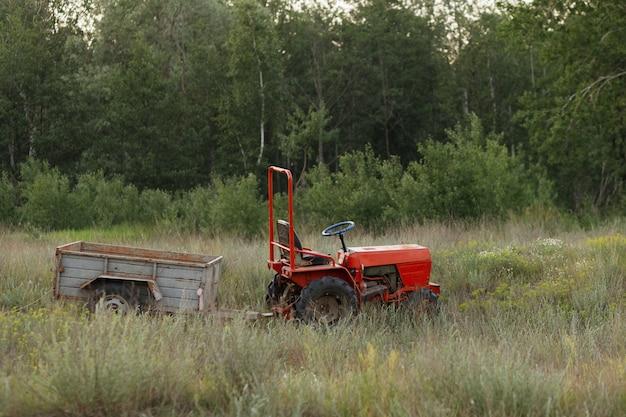 Le tracteur le soir se tient dans le champ. agriculture