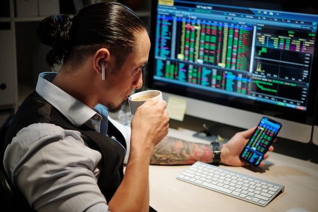 Trader professionnel prenant une pause-café et surveillant les positions ouvertes pour s'assurer qu'il aura suffisamment de temps pour réaliser un profit avant la fermeture des marchés